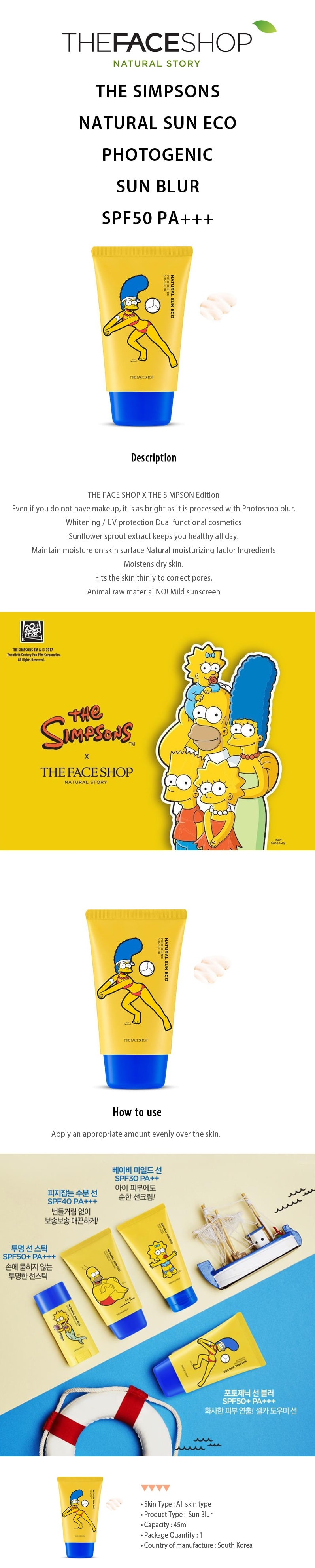 The Face Shop The Simpsons Sun Eco Photogenic Sun Blur SPF50/PA+++