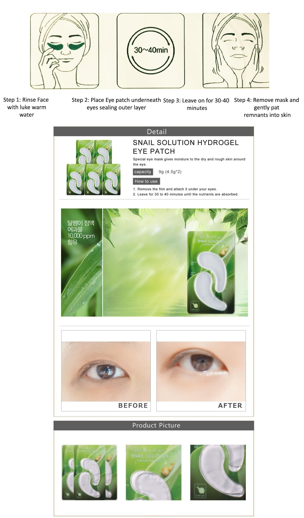 Nature Republic Snail Solution Hydrogel Eye Patch