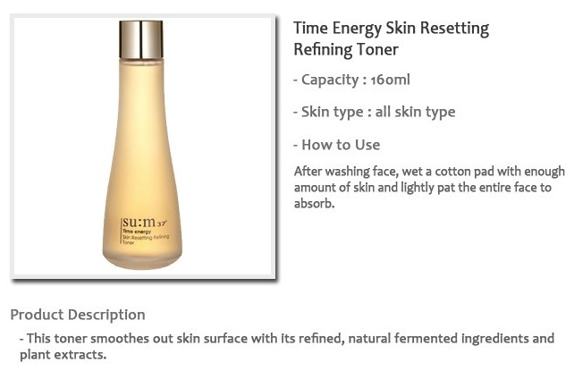 SU:M37° Time Energy Skin Resetting Refining Toner 160ml