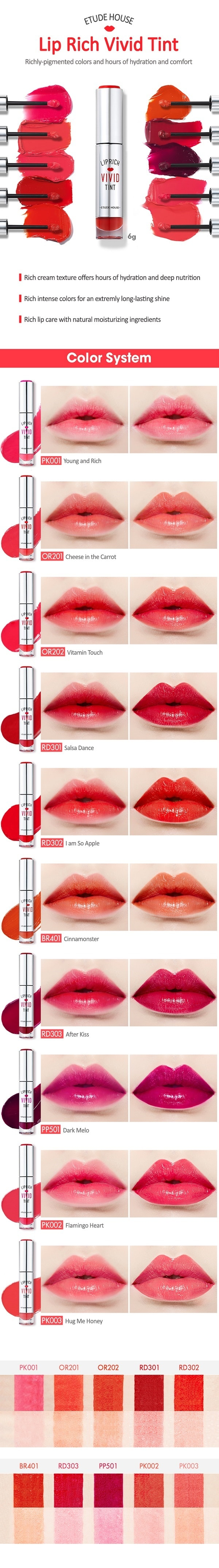 ETUDE HOUSE Lip Rich Vivid Tint 9 Colors