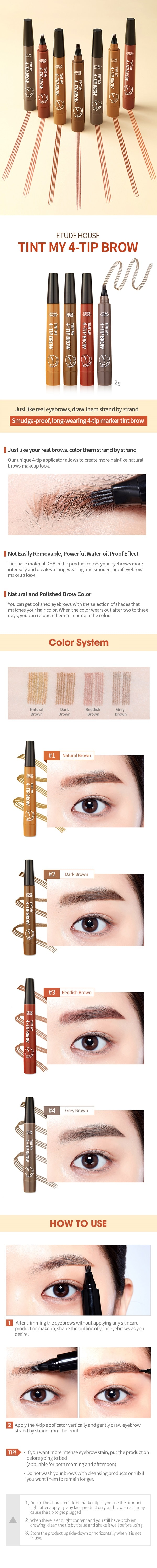 ETUDE HOUSE Tint My 4 Tip Brow - 1 Natural Brown