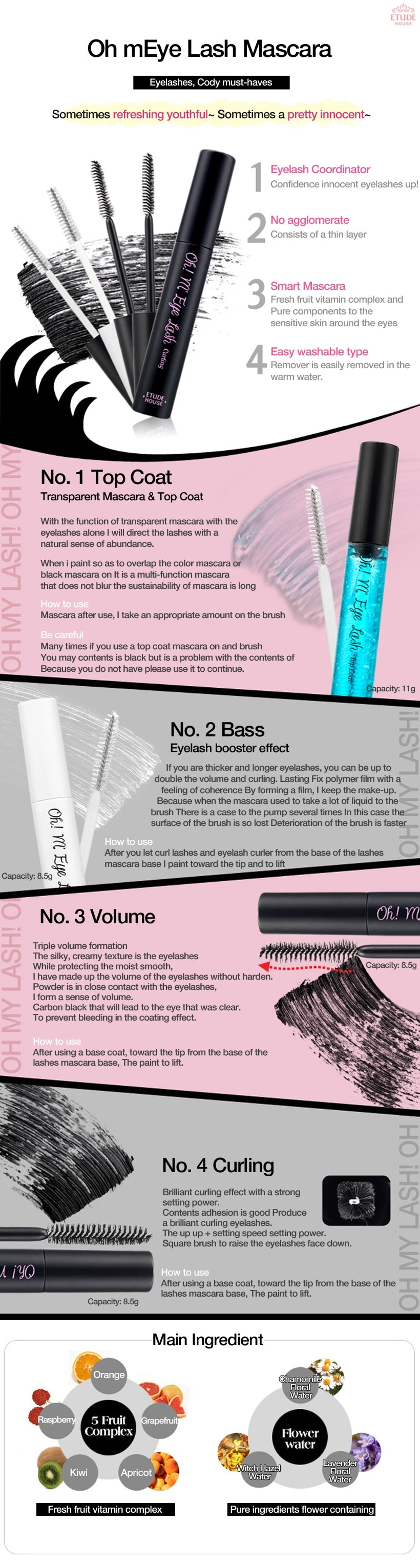 ETUDE HOUSE Oh My Lash Mascara 4 Types