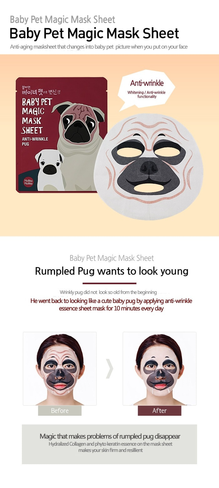 Holika Holika Baby Pet Magic Mask Sheet [Anti-Wrinkle Pug]