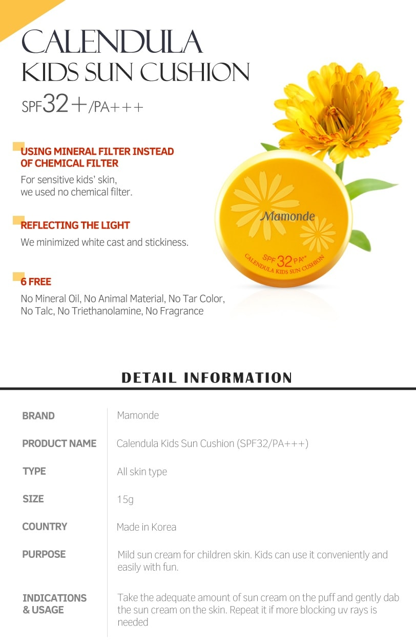 Mamonde Calendula Kids Sun Cushion