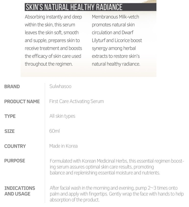 SULWASHOO First Care Activating Serum (60ml)