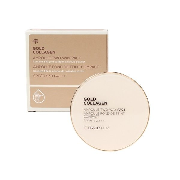 The Face Shop Gold Collagen Ampoule Two Way Pact SPF30 PA+++ [N203 Natural Beige]