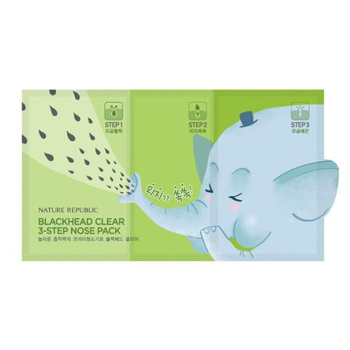 NATURE REPUBLIC Blackhead Clear 3 Step Nose Pack [7 Sheets]
