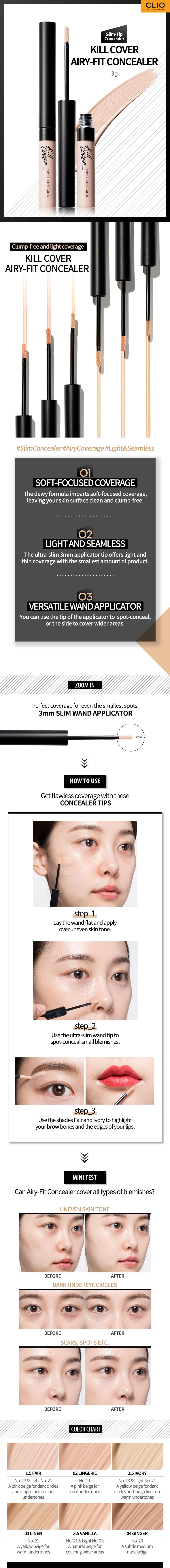 CLIO KillCover Airy Fit Concealer - No.1 Fair