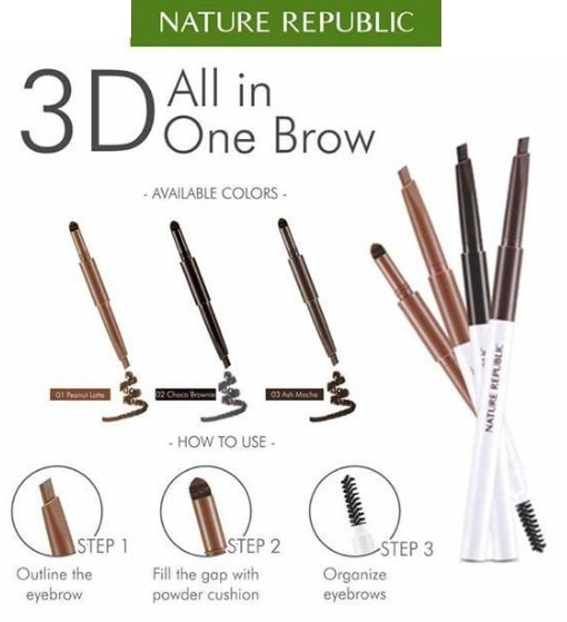 NATURE REPUBLIC Multiple 3D All In One Brow - No.03 Ash Mocha