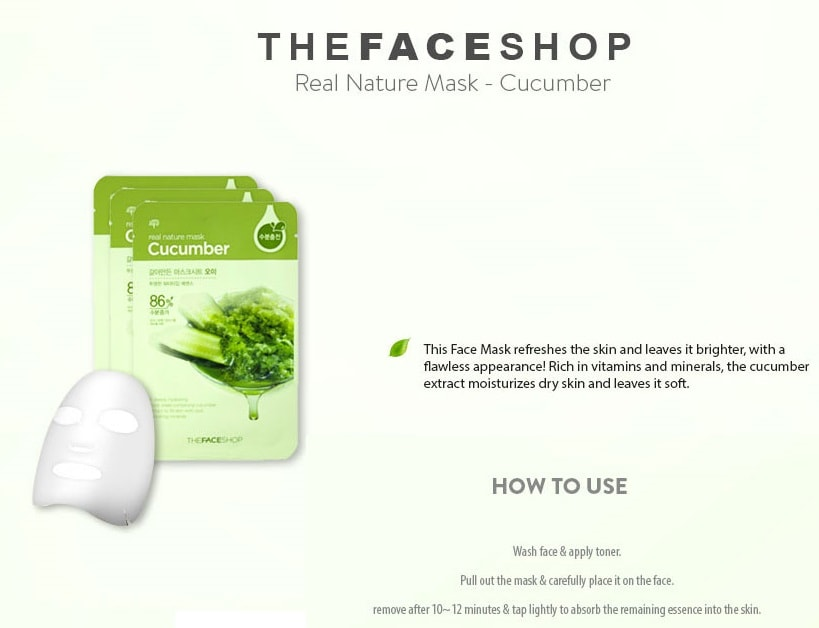 THE FACE SHOP Real Nature Cucumber Face Mask 20g