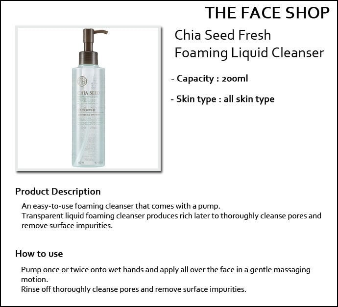 The Face Shop Chia Seed Fresh Liquid Foam 200ml