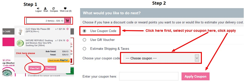 how to use coupon