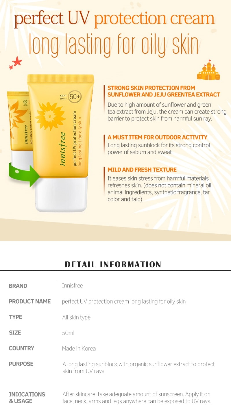 Innisfree Perfect UV Protection Cream Long Lasting 50ml (Combination to Oily)