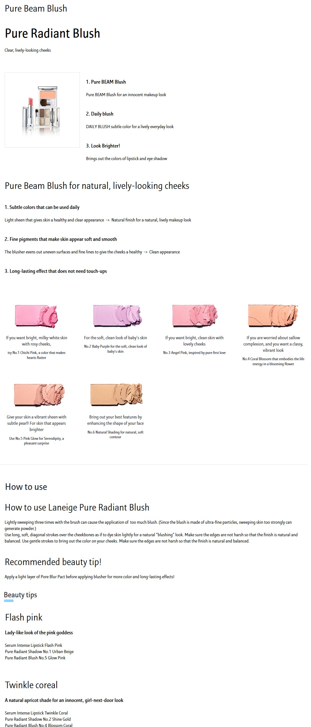 LANEIGE Pure Radiant Blush #1 Chichi Pink
