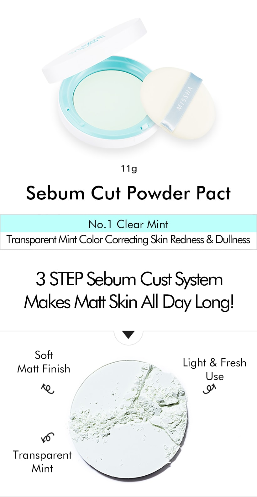 MISSHA Sebum Cut Powder Pact [Clear Mint]