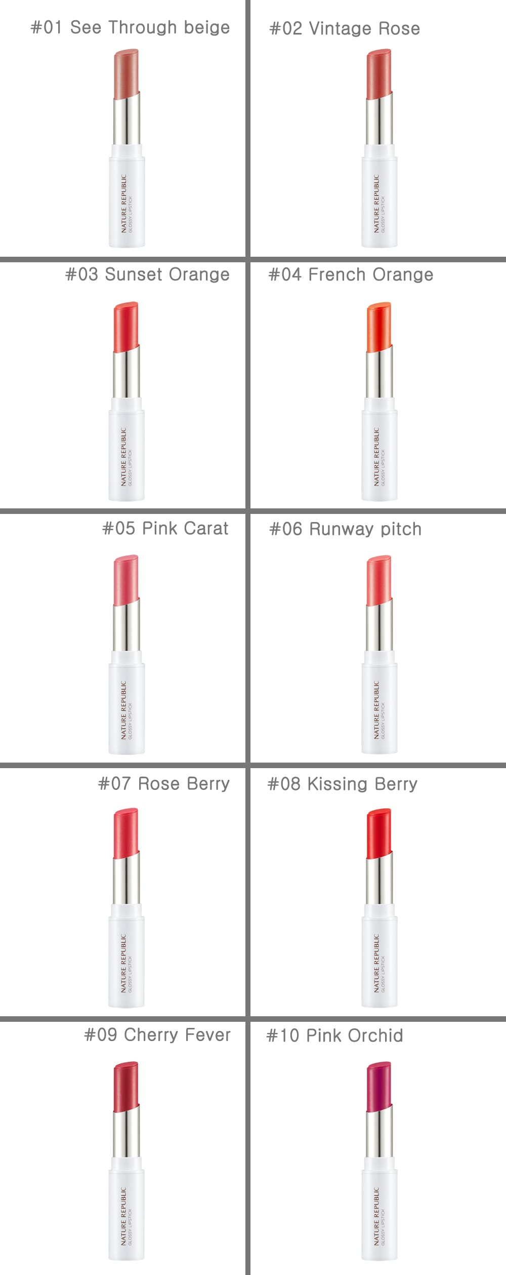 Nature Republic Glossy Lipstick