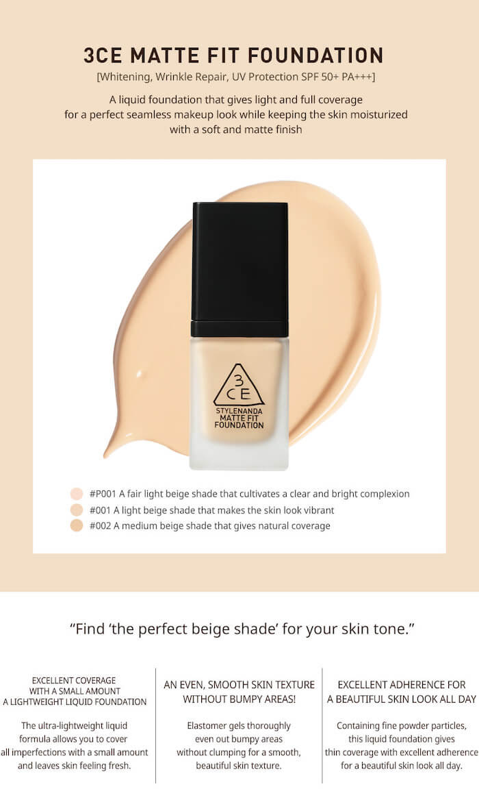 3CE Matte Fit Foundation [#002]