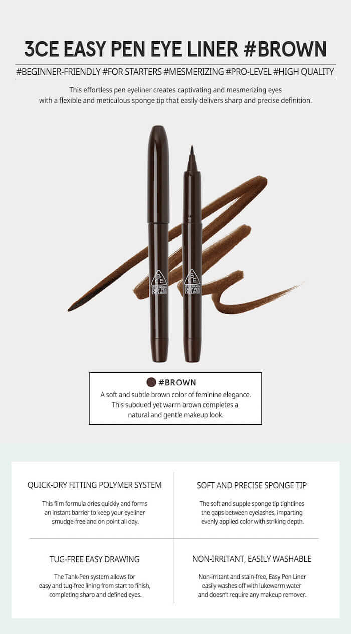 3CE Easy Pen Eye Liner [#Brown]