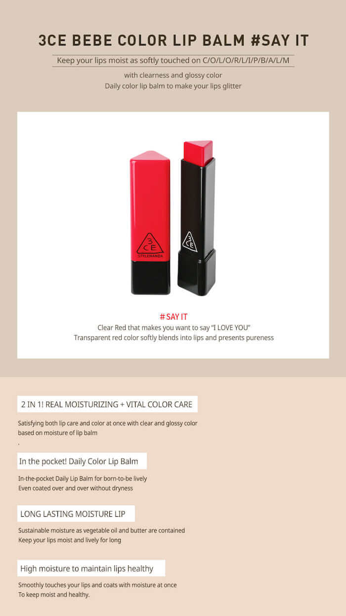 3CE Bebe Color Lip Balm [#Say It]