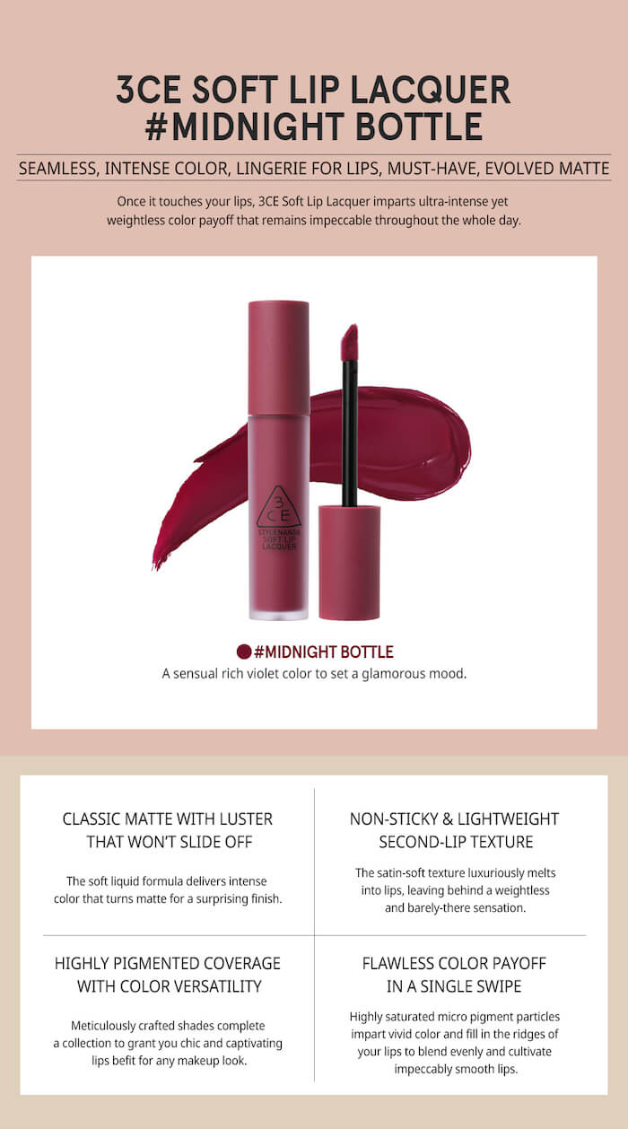 3CE Soft Lip Lacquer [#Midnight Bottle]