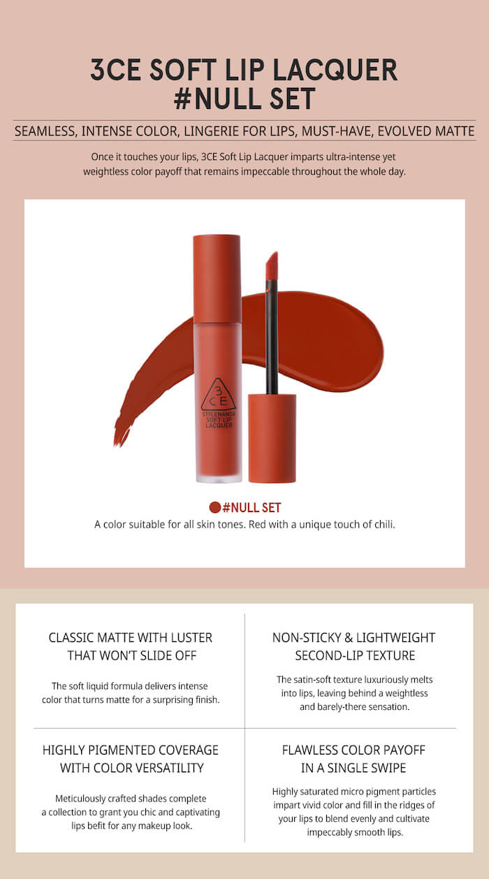 3CE Soft Lip Lacquer [#Null Set]