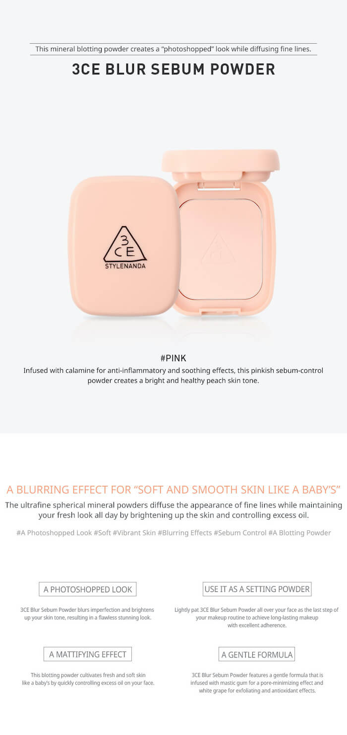 3CE Blur Sebum Powder [#Pink]
