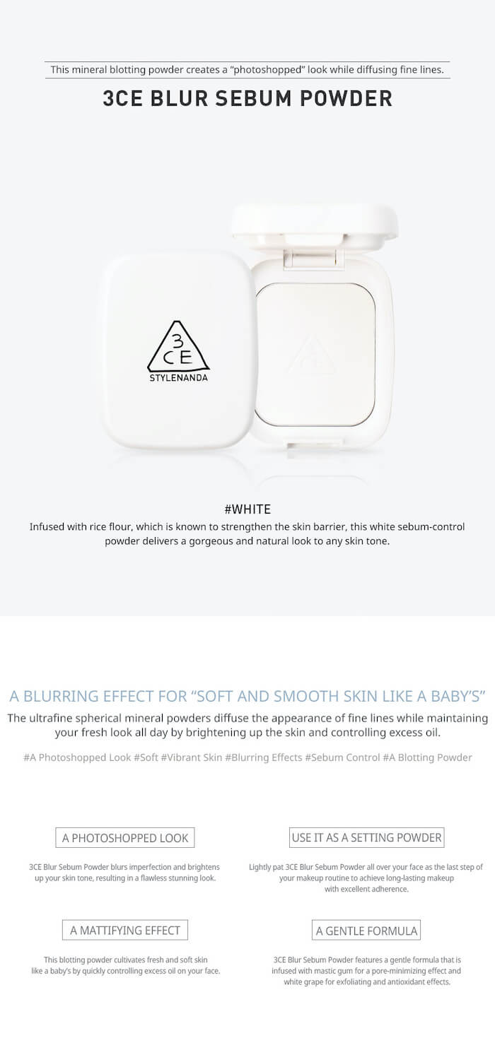 3CE Blur Sebum Powder [#White]