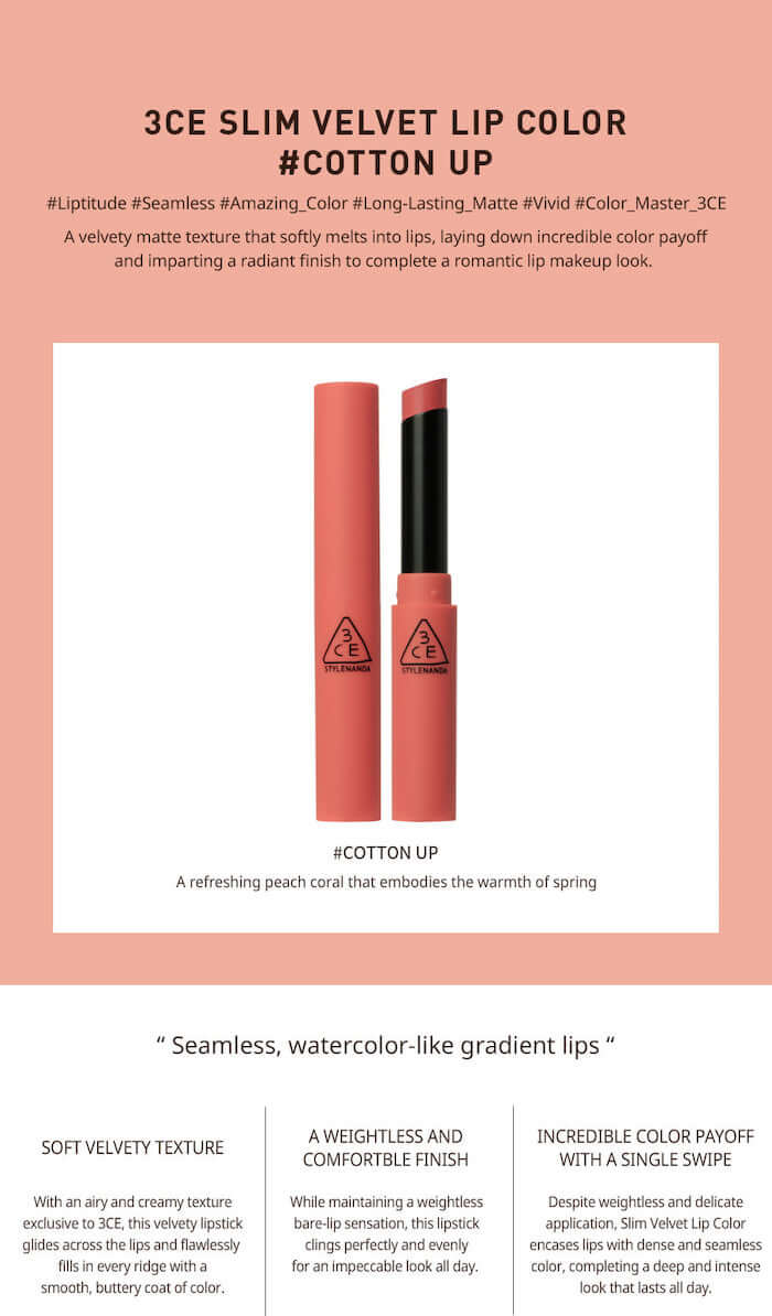 3CE Slim Velvet Lip Color [#Cotton Up]
