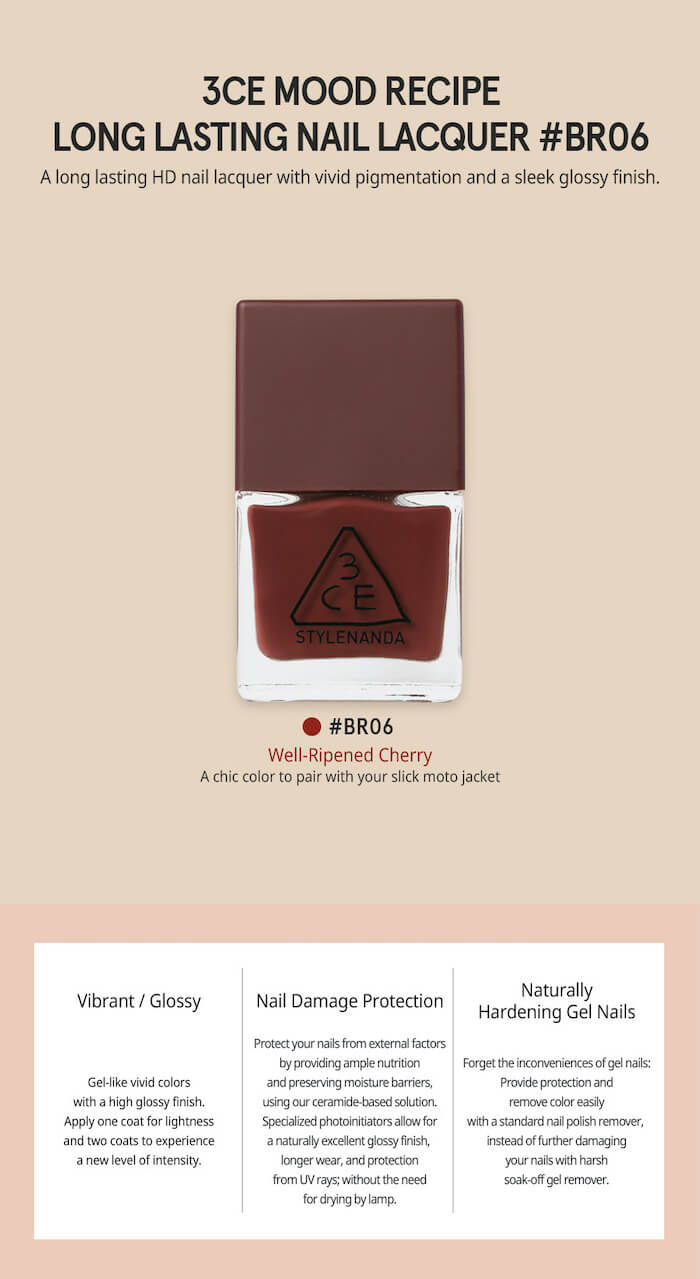 3CE Mood Recipe Long Lasting Nail Lacquer [#BR06]