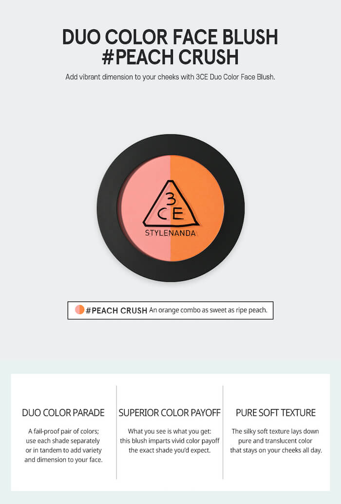 3CE Duo Color Face Blush [#Peach Crush]