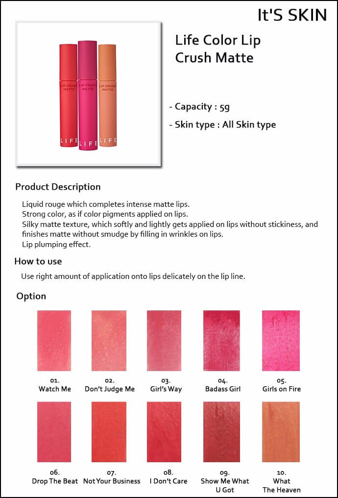It's Skin Life Color Lip Crush Matte [#1 watch Me]