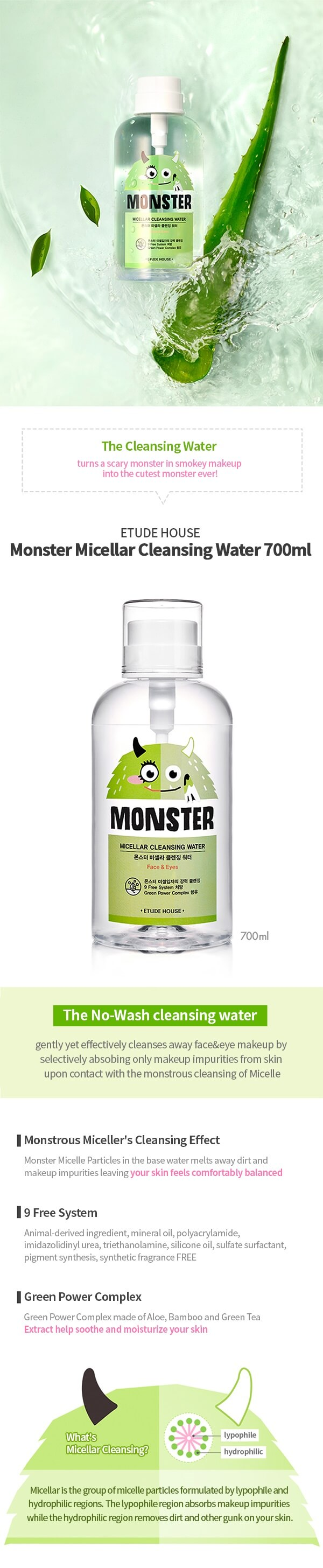 Etude House Monster Micellar Cleansing Water 700ml