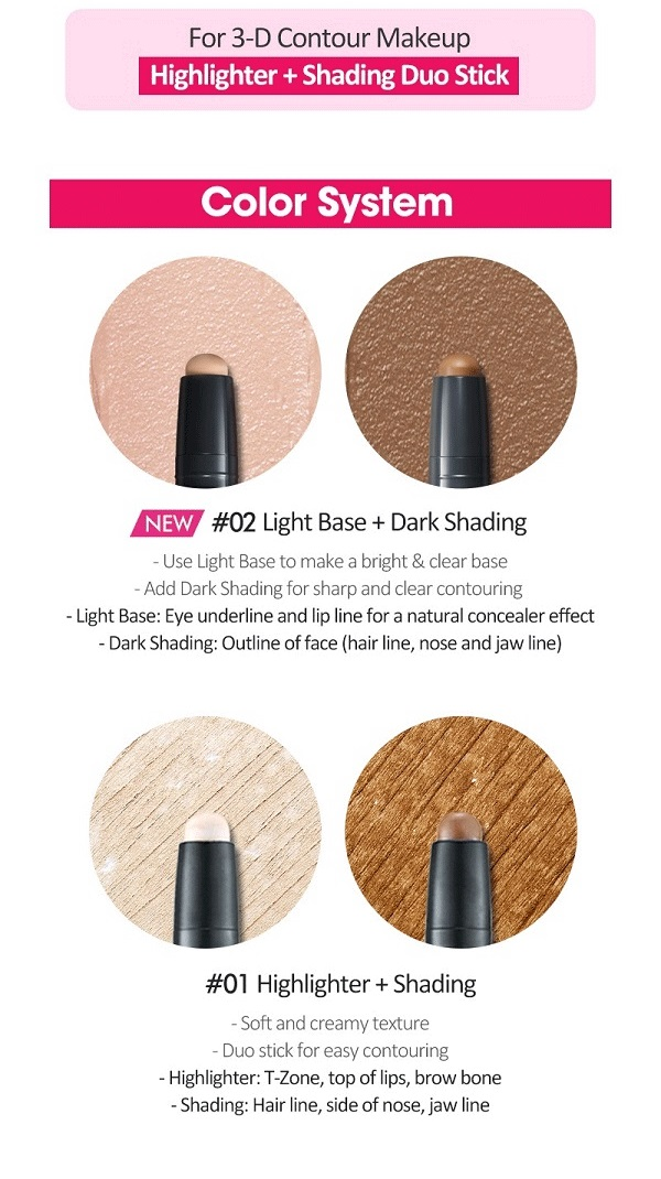 ETUDE HOUSE Play 101 Stick Contour Duo #01 Highlighter + Shading