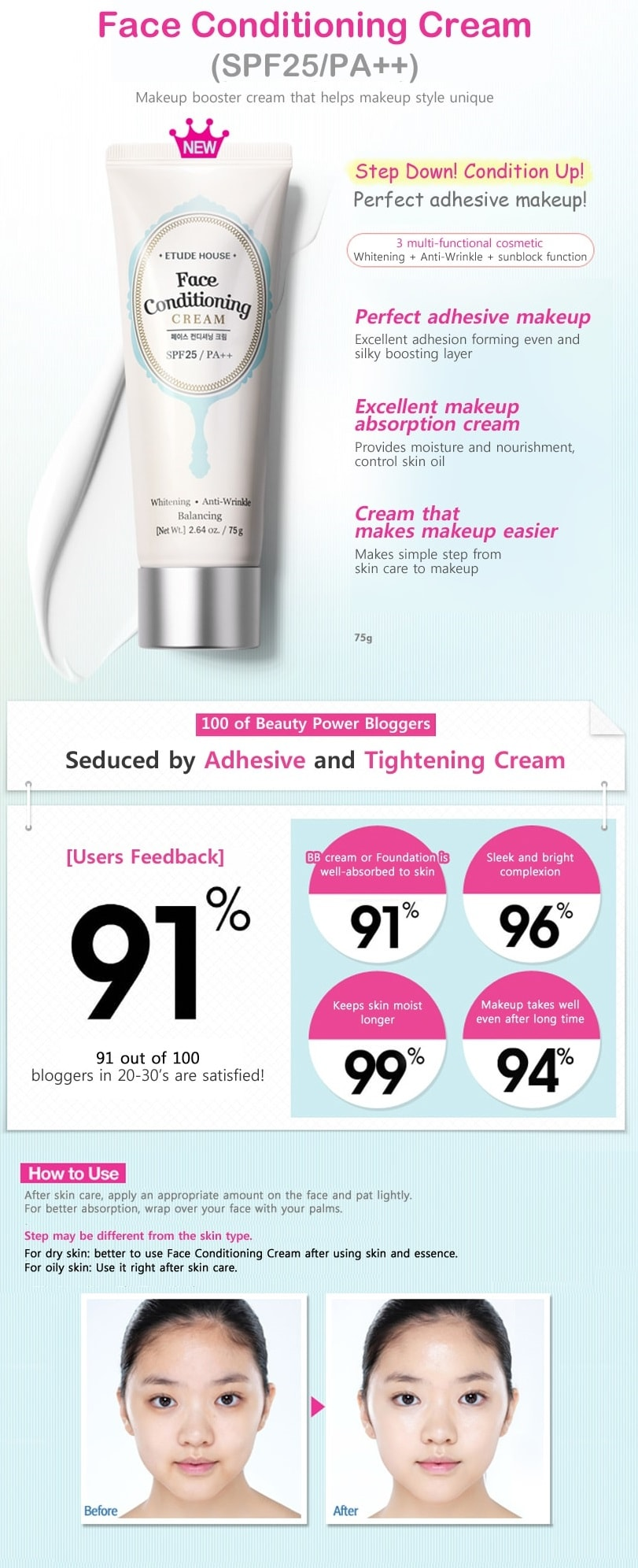 Etude House Face Conditioning Cream 75g SPF25 / PA ++ (75g)