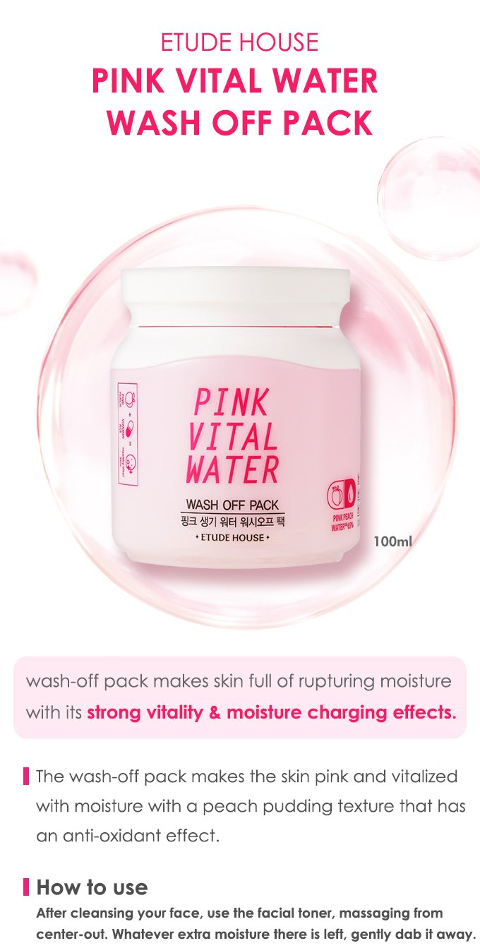 ETUDE HOUSE Pink Vital Water Wash Off Pack 100ml Click to enlarge image ETUDE HOUSE Pink Vital Water Wash Off Pack 100ml