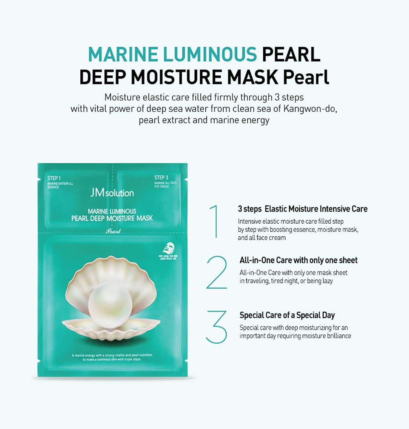 JM Solution Water Luminous Pearl Deep Moisture Mask 10 Sheets