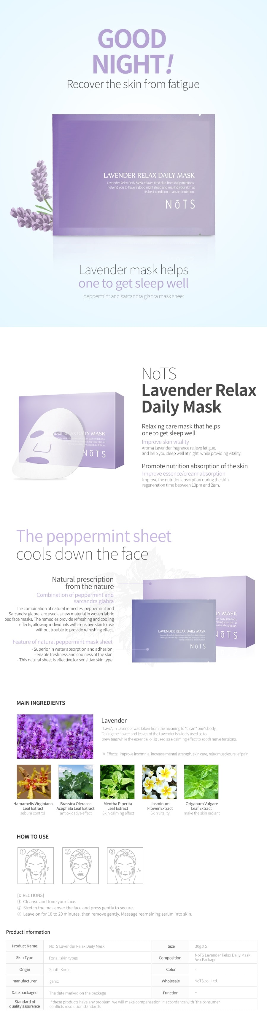 NOTS Lavender Relax Daily Mask [5PCS]
