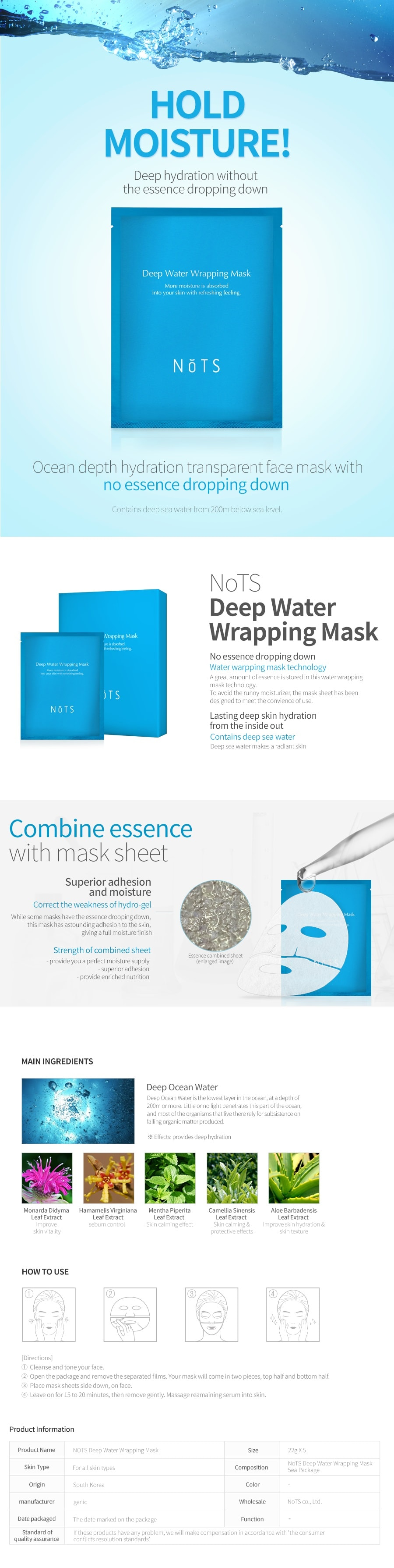 NOTS Deep Water Wrapping Mask [5PCS]