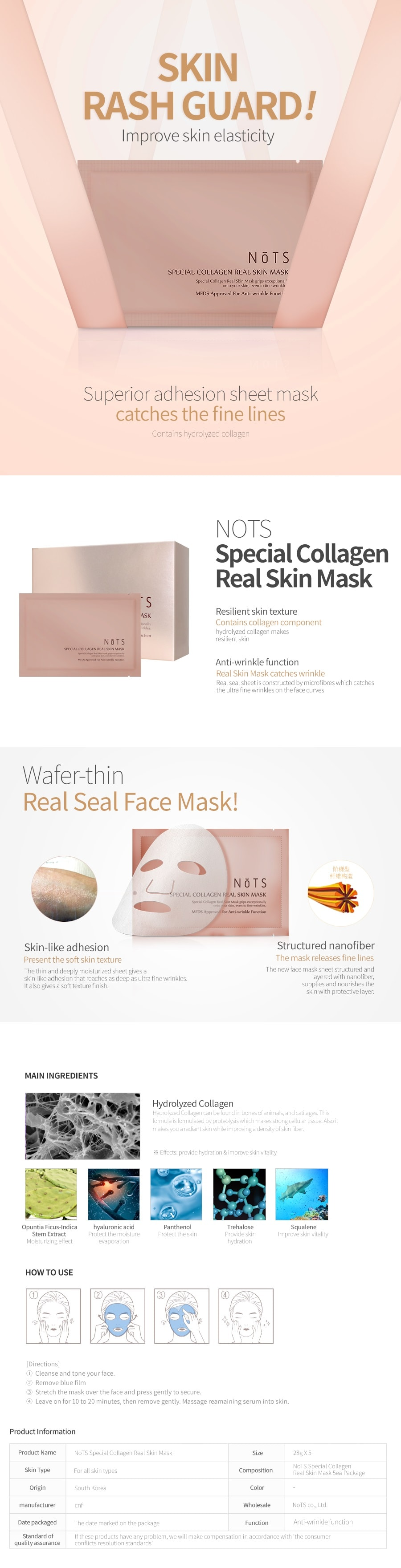 NOTS Special Collagen Real Skin Mask [5PCS]